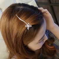 Rhinestone leaf clover flower hair clips / side clip / card issuing / word folder bangs clip women fashion hair accessories