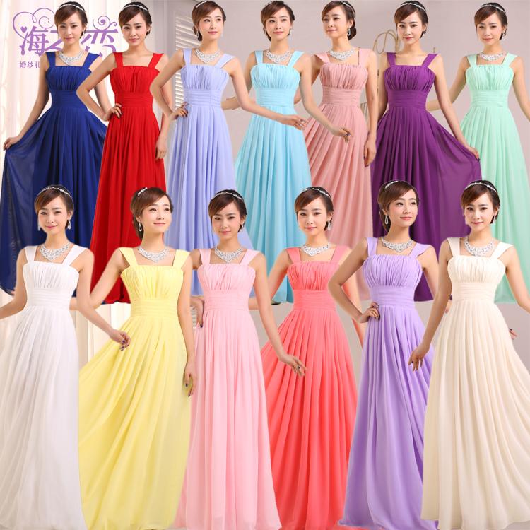 Double-shoulder chiffon bridal formal dress toast 2014 bridesmaid dress long design XS-3XL Big SIze(China (Mainland))