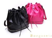 High-grade Fashion Rivet Ladies Cow Split Leather Drawstring Bucket Bag Women Shoulder Bags Free Shipping Retail and Wholesale