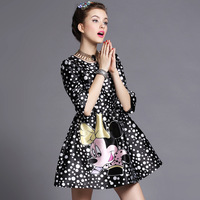 FREE SHIPPING 2014 new large size women Slim thin printed chiffon dress stitching embroidered drilling hot  L-XXXXXL