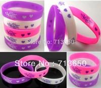 24pcs Violetta Charm Silicone Bracelets 3 Colors Mixed Fashion Wristbands Wholesale Jewelry Lots