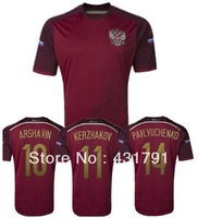 Russia Jersey World Cup 2014 Soccer Sports MEN 3A+++ Best Thai Player Version Home Red 14 15 Football Shirt Uniforms Customied