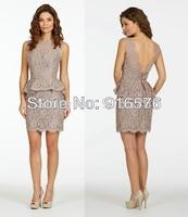 New 2014 Elegant Jewel Neckline Column Short Wedding Party Dress Sleeveless Lace Cocktail Dresses