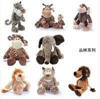 Free shipping Jungle Series mammothThe elephant tiger lion ape monkey giraffe plush toy doll
