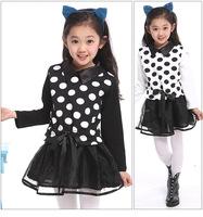 New 2014 sping girl dress gauze long-sleeve dress  princess dress Polka dot dress