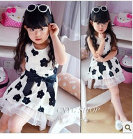 New Arrival Girl's Cute Sleeveless Mini Dress 2014 Summer Black Flower Fashion Sweet Sundress