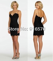 New 2014 Elegant Sweetheart Neckline With Spaghetti Straps Black Column Short Party Dress Lace Cocktail Dresses
