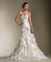 Custom Sweetheart Beading Organza Mermaid Wedding Dress