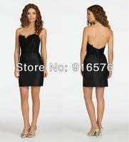 New Sweetheart Neckline Column 2014 Bridesmaid Dresses Black Wedding Gowns With Appliques Sleeveless Short Mini