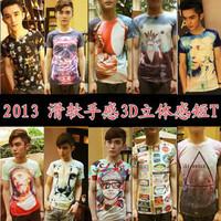 free shipping Personalized t-shirt skull 3d colorful luminous short-sleeve T-shirt elastic tight-fitting t-shirt male