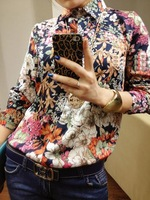 Free Shipping European Fashion Style Vintage Floral Print Long Sleeve Blouses Shirts For Women Spring/Autumn 2013 Hot Sale Tops