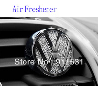 Wholesale 5PCS/lot Car Air Freshener perfume crystal for VW car emblem car air outlet with diamond accessories car perfume