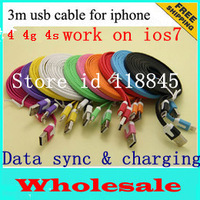 100pcs 3M 10FT Flat Noodle for iphone 4 4s USB data sync cable & charging for Apple 4 4s cable iPad 1 2 High quality BY DHL