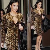 New HOT SALE Women Fashion Party Cherrykeke Dress Long Sleeve Leopard Sexy Low Cut Dress