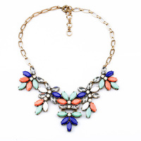 Spot Sale Necklaces & Pendants Big Brand Crystal Leaves Resin Choker jewelry Chunky Statement Necklace Women Free Shipping 2014