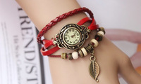 Freeshipping  Leaves Form Three Leather Fashion Lady, Restoring Ancient ways Girls  or   Womens watches
