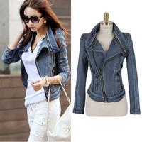 2014 women's vintage denim coat outerwear female long design slim denim jacket female long-sleeve  The cowboy clothing
