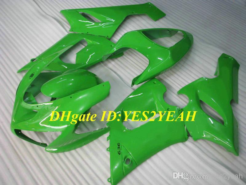Wholesale - Injection Mold Fairing kit for KAWASAKI Ninja ZX6R 05 06 ZX 6R 2005 2006 ZX-6R 636 05-06 Complete green ABS Fairings(China (Mainland))