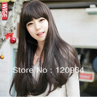 Free Shipping Hot-selling Wigs Stubbiness Synthetic Hair    New Long lady's Hair Cosplay straight Dark brown Wig