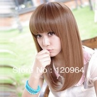 Wig long straight hair wig Long lady's Hair Cosplay straight Dark brown Wig