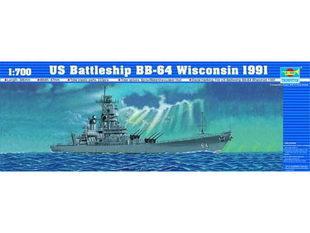 Trumpeter 05706 1/700 US Battleship BB-64 Wisconsin 1991 plastic model kit(China (Mainland))