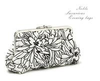Black and white elegant satin flower print women's evening bag day clutch bags