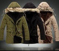 Fashion 2014 Men Winter Outdoors Medium-Long Fleece Jacket Thickening Fur Hooded Army Green Parka Coat Free Shipping