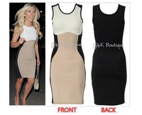 Top Quality Women's inspired Optical Illusion Effect Contrast Bodycon Slimming Fitted Black Celeb Knee-Length Dress