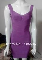 Ladies elastic Lilac v neck low back Bandage Dress Women's Backless J111 Backless spaghetti strap Evening Party Dress