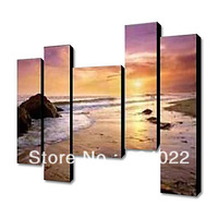 Hand Painted Oil Painting Landscape Sunset Sea Beach without Stretched Frame Set of 5