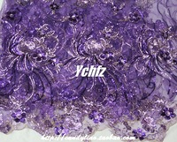 2014 Purple embroidery gauze embroidered paillette gold thread lace  performance  fabric diy  high quality