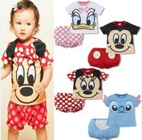 2014 summer baby Set romper T shirt Pant girl boys cotton toddler jumpsuit,infant mickey minnie bodysuit 2 pcs baby clothing set