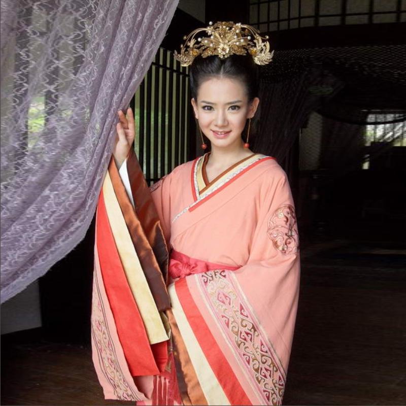 Costume beauty princess orange female hanfu guzheng costume(China (Mainland))