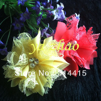 "Trail order, 2.8"" New Style Chiffon Lace Flower  with pearl & rhinestone for headbands,wedding,clothing 60pcs/lot, mixed 12color"