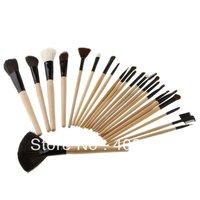 Big Discount 24pcs Professional Cosmetic Make Up Makeup Brush Blush Eyeshadow Set Kit with Black Leather Case,free shipping