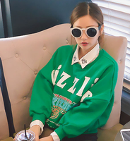 fashion women 2014 New clothes Brown bears letter print casual loose batwing sleeve long-sleeve fleece sweatshirt