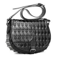 Small bag messenger bag 2013 women's punk handbag black skull rivets bag