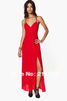 Women's Sexy halter red chiffon dress with side split chiffion long dress halter chiffion dress sexy chiffon dress