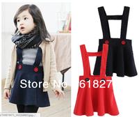 2014 Spring Style Solid  Suspender Dress Sleeveless Girl's Dress Woolen Children Dress Free Shipping