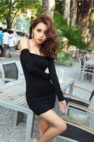 2014 European and American Women's Sexy Nightclub Neck Strapless Stretch Tight Long-Sleeved Black Dress Free Shipping