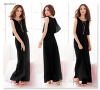 2014 European and American Bohemia Long Beach Dress Solid Color No Sleeve Chiffon Dress Summer Dress Free Shipping