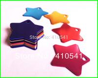 New Sales Mix Colors 200 Pcs/ Lot 36MM*36MM Custom Aluminum Alloy Star Shape Charm Pet ID Tags Dog tags Free Shipping