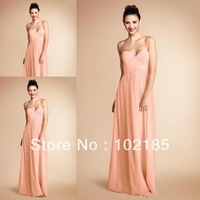 Pretty Peach Color Sweetheart Pleats Chiffon Long Bridesmaid Dress Brides Maid Dress vestido de dama de honra