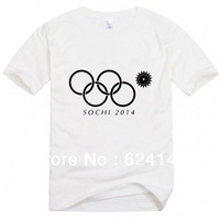 Size:XS-XXXL 2014 Winter Olympics in Sochi, Russia Becomes The Fault of Cotton T-shirts Rings Women and Men Cotton T-shirt