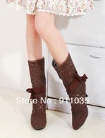 Free shipping/  Hollow out the boots tube her boots boots, sandals