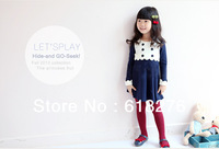 Spring Style Solid Double Botoon Straight Dress Two Color Regular Sleeve Girl's Dress Woolen/Cotton Children Dress Free Shipping