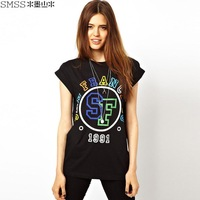 Ink landsides smss fashion women's sf letter print o-neck casual T-shirt street