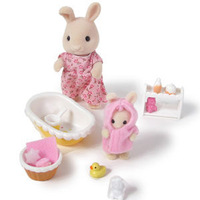 Free shipping original Sylvanian Families toys Rabbit Baby Bathroom Set pretend play kids toys gift