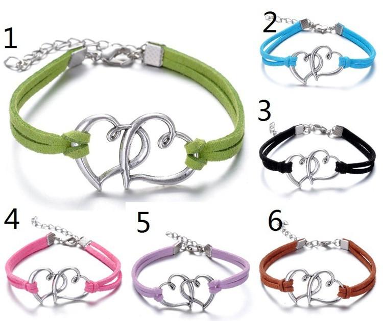 European style bracelets fashion personality double heart braided bracelet YH-2 free shipping(China (Mainland))