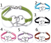 European style bracelets fashion personality double heart braided bracelet YH-2 free shipping